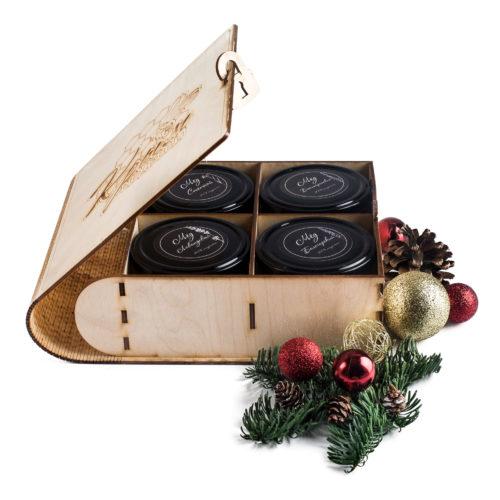 Подарочная коробочка для 4-х банок мёда с пасеки Медовый Крым