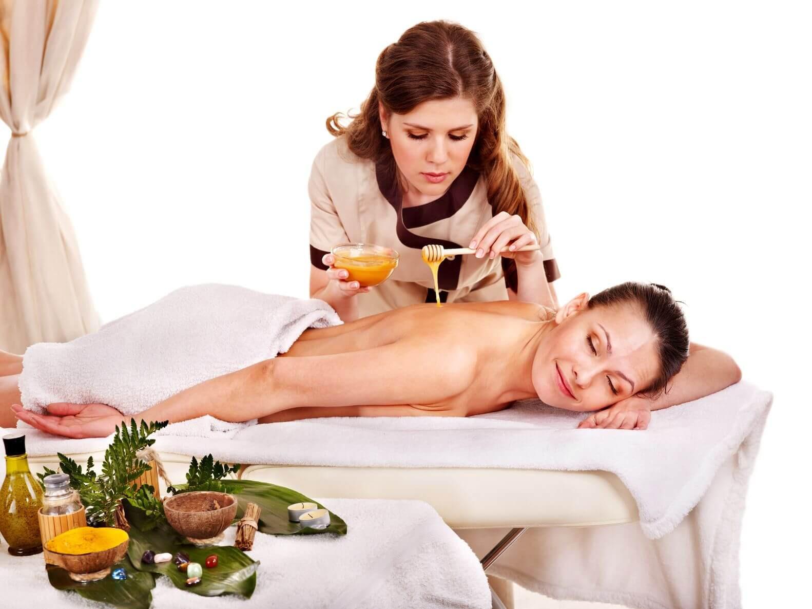 Медовый массаж. Фото.